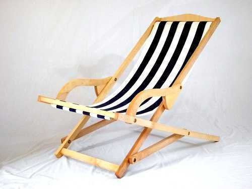 navy and white rocking deckchair